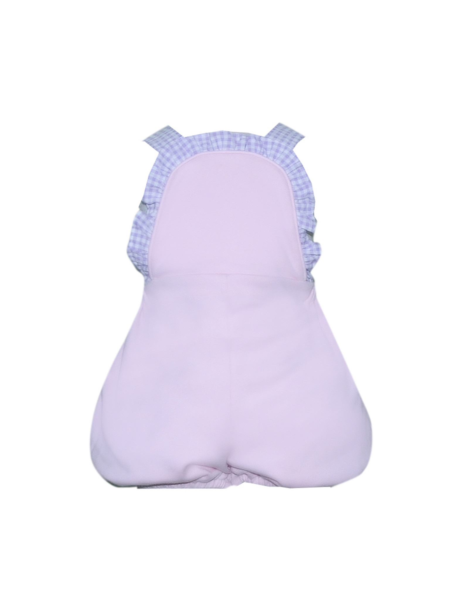LullabySet Margaux Pink Bubble With Purple Gingham Ruffle Trim