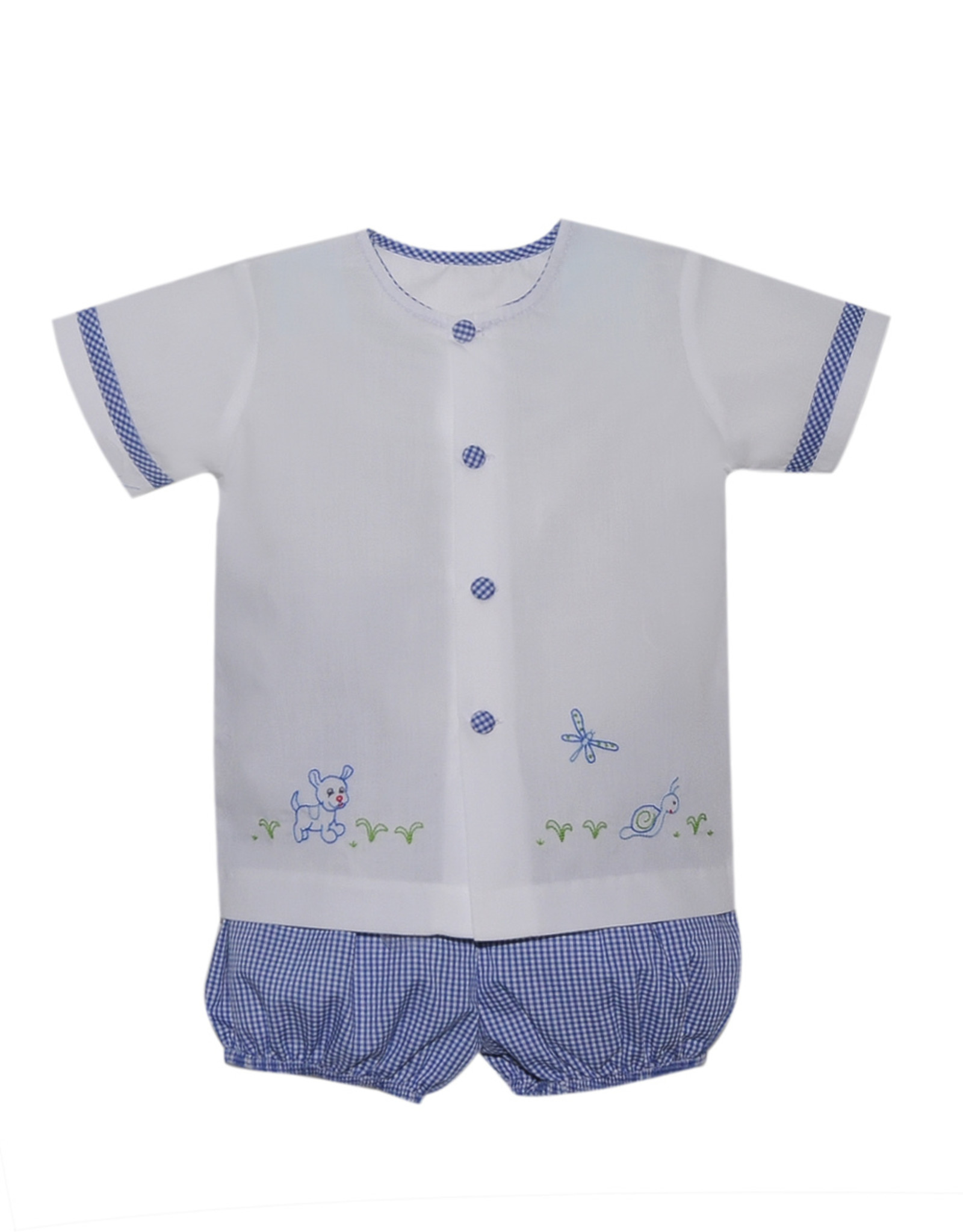 LullabySet Louis White Top With Puppy And Gingham Short