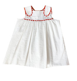 LullabySet Francis White Seersucker Dress With Red Ric Rac