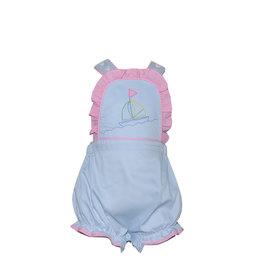 LullabySet Brooke Blue Bubble With Pink Gingham Ruffle