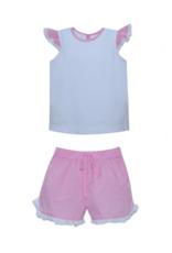 LullabySet Kristen Top And Bailey Pink Gingham Short Set