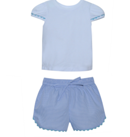 LullabySet Brittany Top And Bailey Blue Gingham Short Set