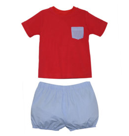 LullabySet Mason Red Shirt And Bryce Navy Bloomer Set