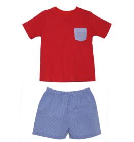 LullabySet Mason Red Shirt And Stewart Navy Shorts