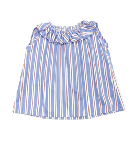 Peggy Green Sara Paige Ruffle Top Red/Blue Stripe