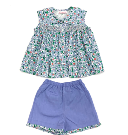 Peggy Green Smocked Short Set - Salem Floral Top And Baltimore Blue Short