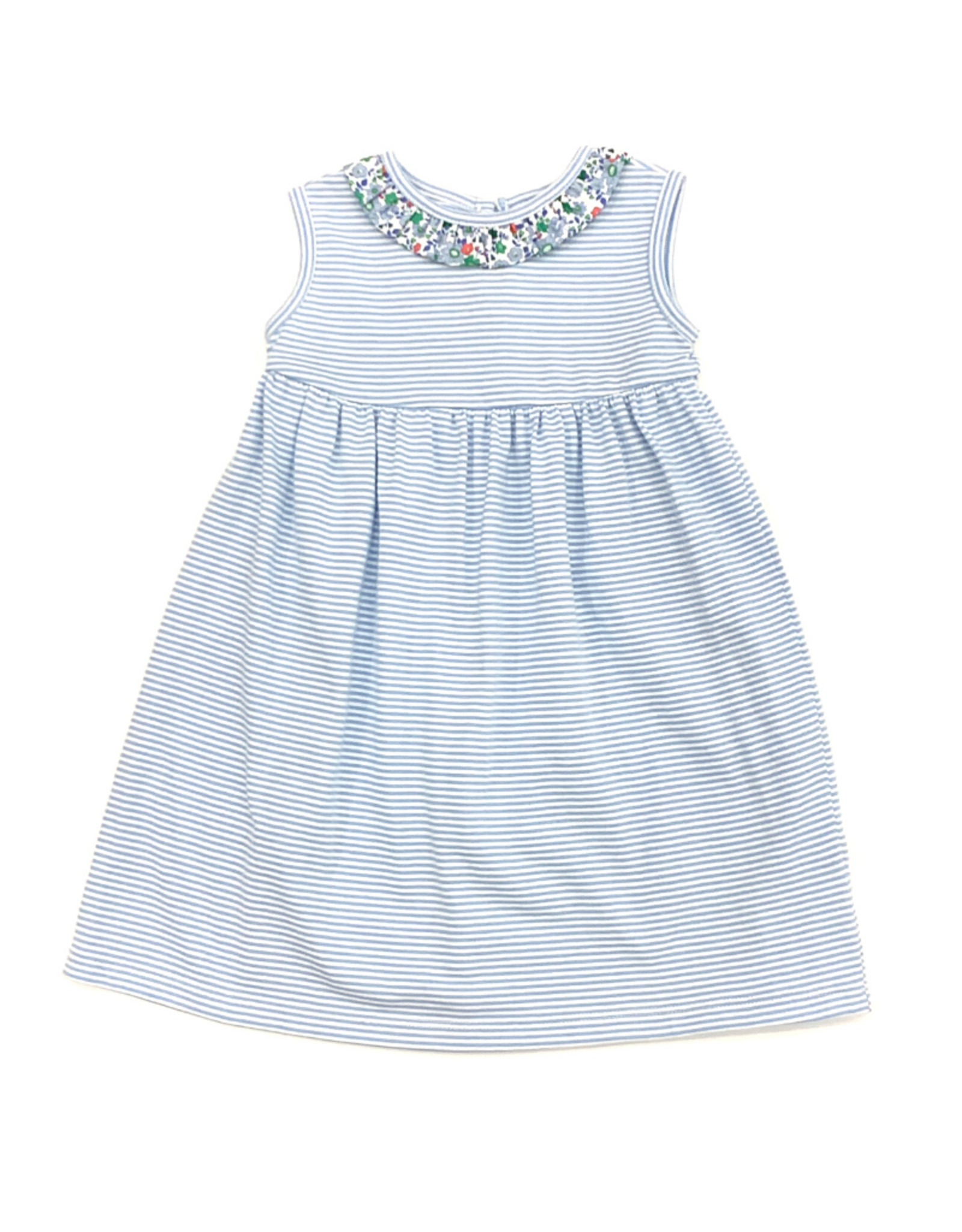 Peggy Green Cici Dress - Blue Candy Stripe With Salem Floral Ruffle