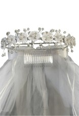 "Lito 24"" Veil With Organza Flowers, Rhinestones, Pearls, Satin Bows"
