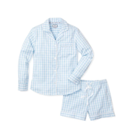 Petite Plume Women's Light BlueGingham Pajama Short Set