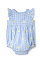 Classic prep Beatrice Blue Gingham Bubble With Lemons