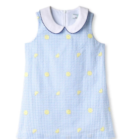 Classic prep Maddie Blue Gingham Dress With Lemons