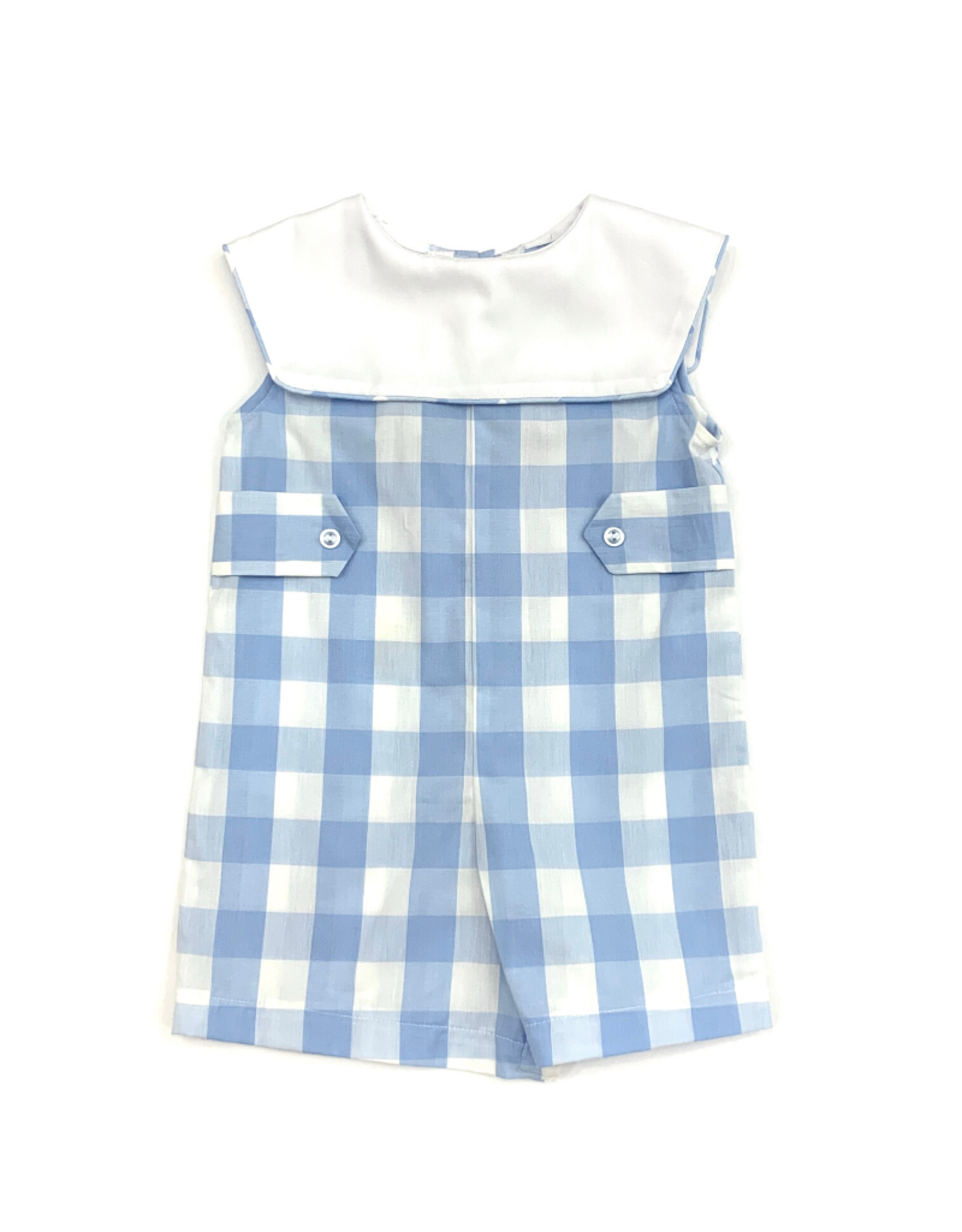 Anvy Kids Bill Blue And White Buffalo Check Romper