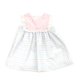 Anvy Kids White Emma Dress With Multi Colored Dots