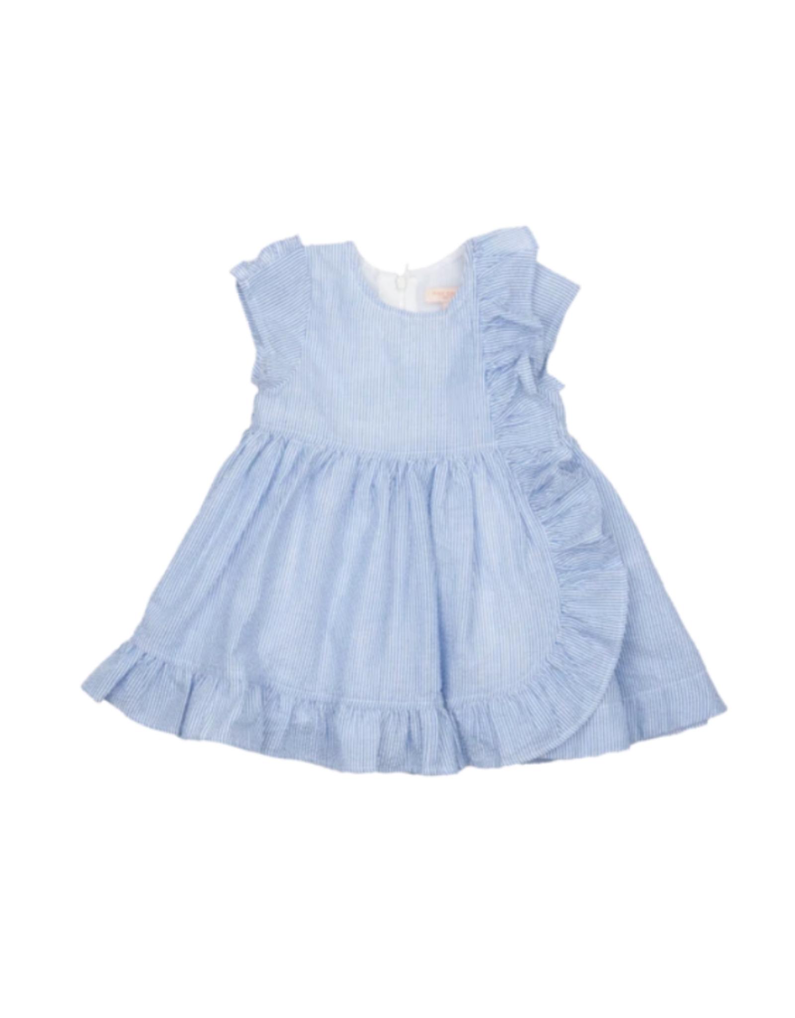 Pink Chicken Cher Blue Seersucker Dress