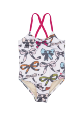 Pink Chicken Belle Swimsuit With Multi Colored Bows