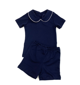 Lila and Hayes Field Navy Shirt And Short Set