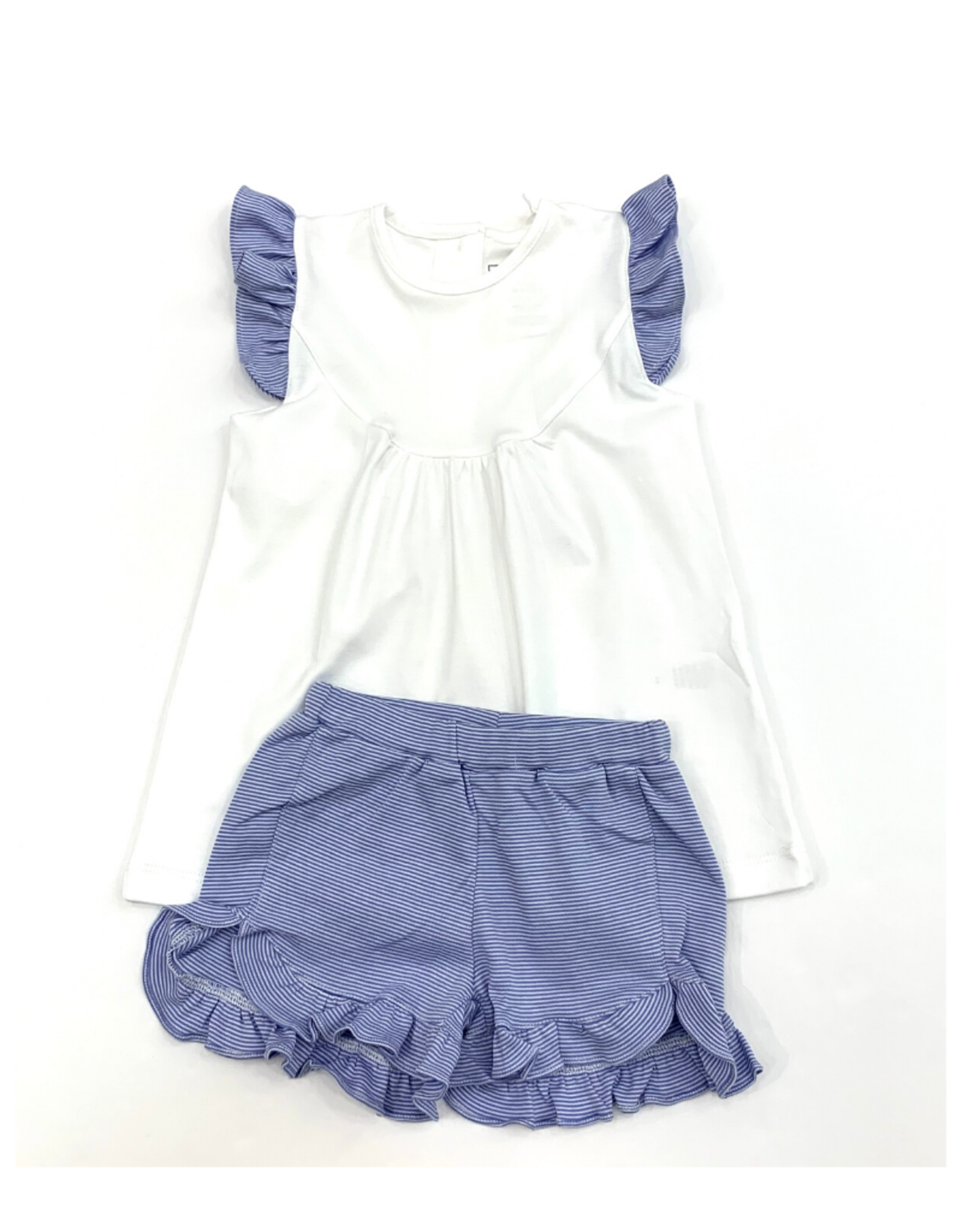 Lila and Hayes Ella White Top And Blue Striped Short Set