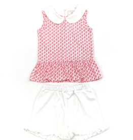 Lila and Hayes Landry Coral Top And White Short Set