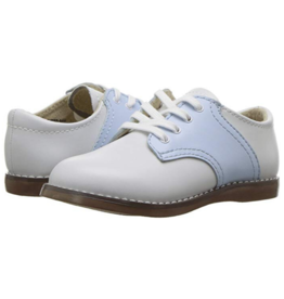 Footmates Cheer White And Blue Saddle Oxford