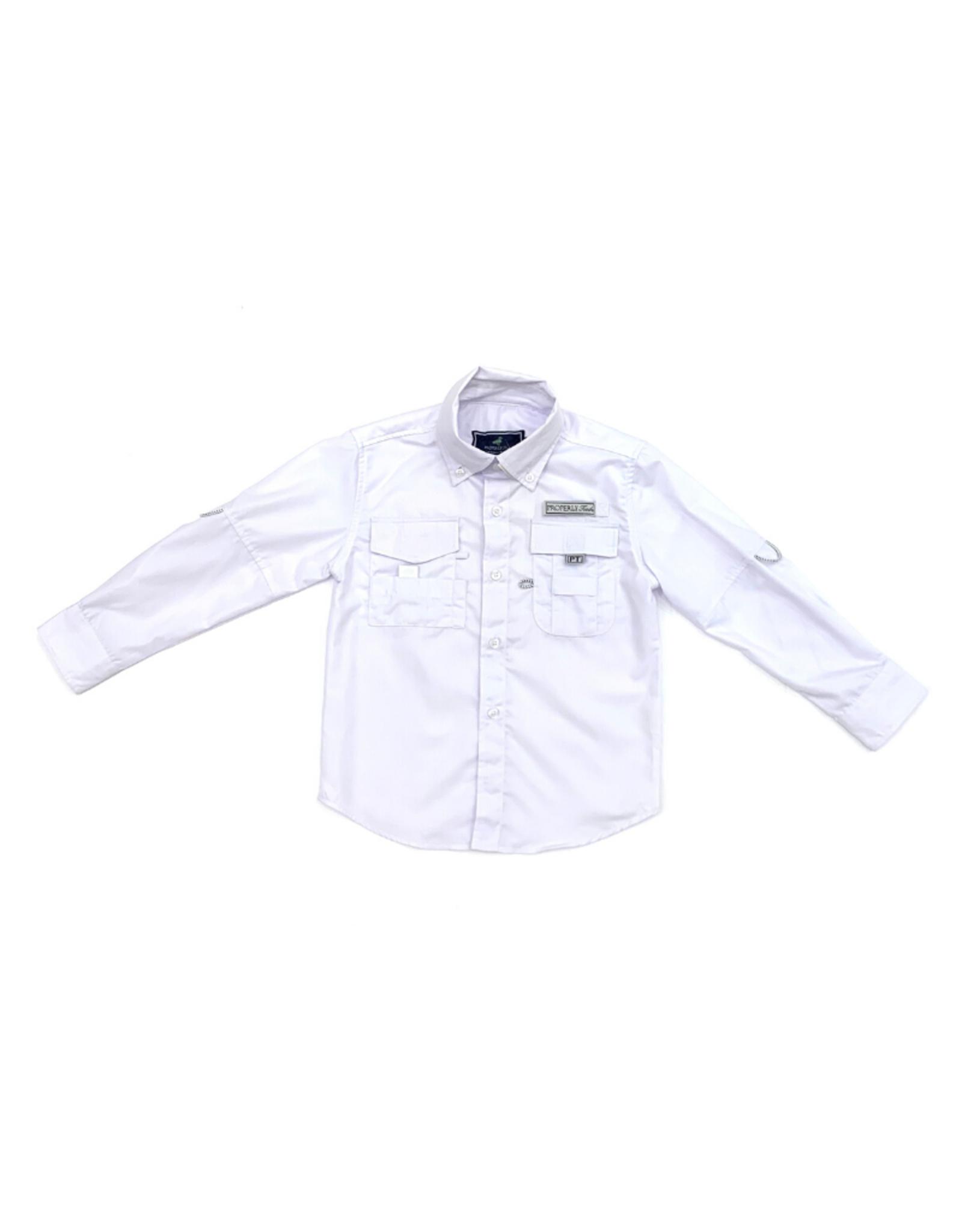 Properly Tied Polar White Fishing Shirt