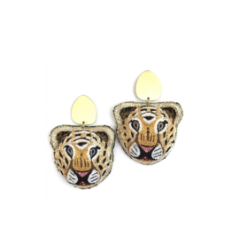 Allie Beads Embroidered Tiger Earrings
