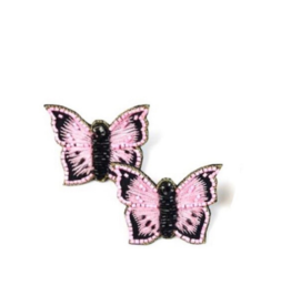 Allie Beads Beaded Pink Butterfly Earrings