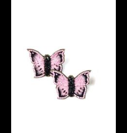 Allie Beads Beaded Pink Butterfly Earrings