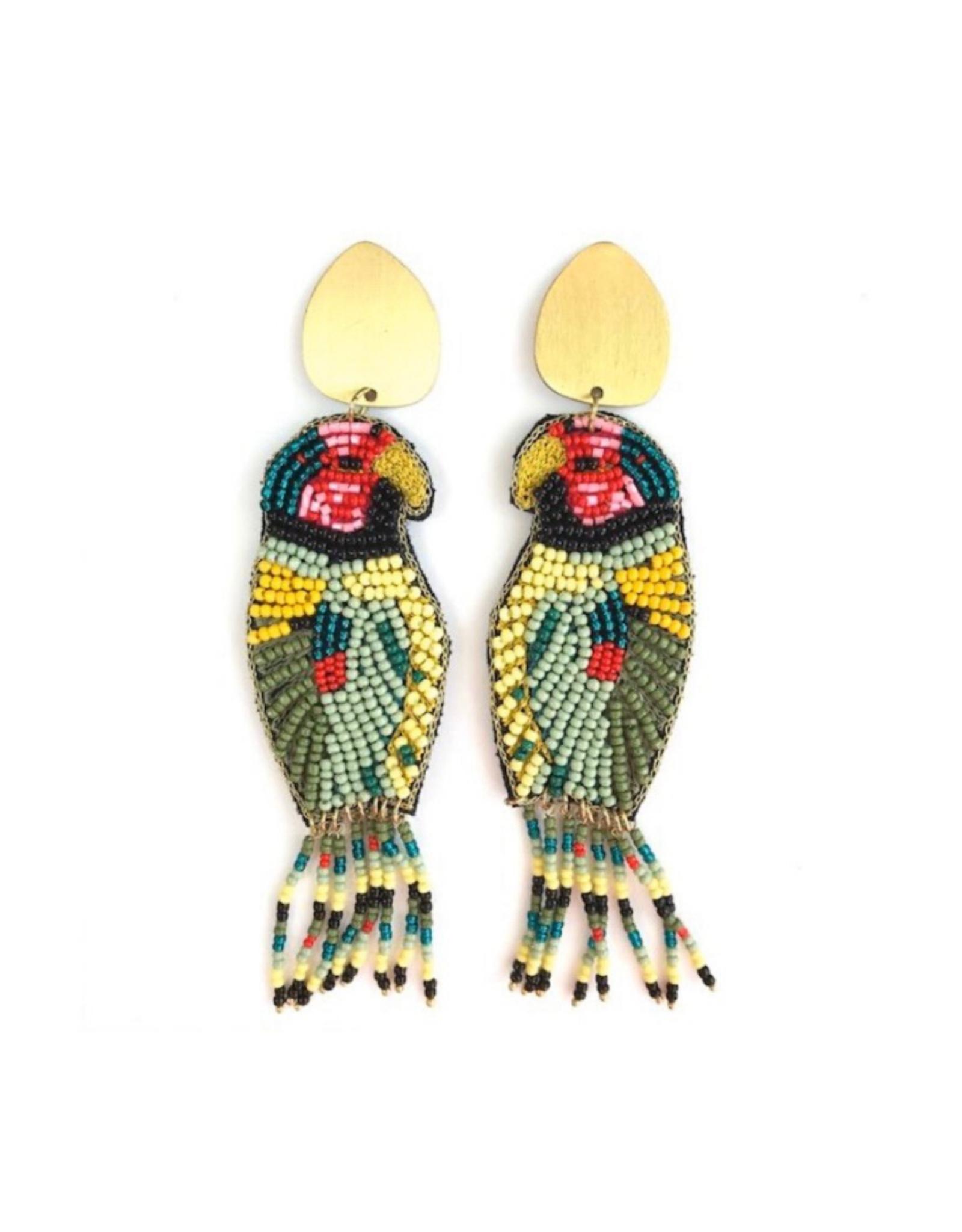 Allie Beads Beaded Parrot Earrings