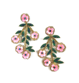 Allie Beads Beaded Cherry Blossom Earrings