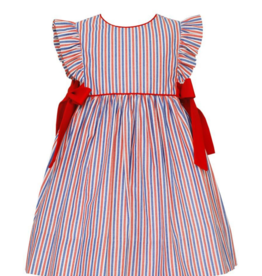 Claire and Charlie Red And Blue Striped Dress With Bows