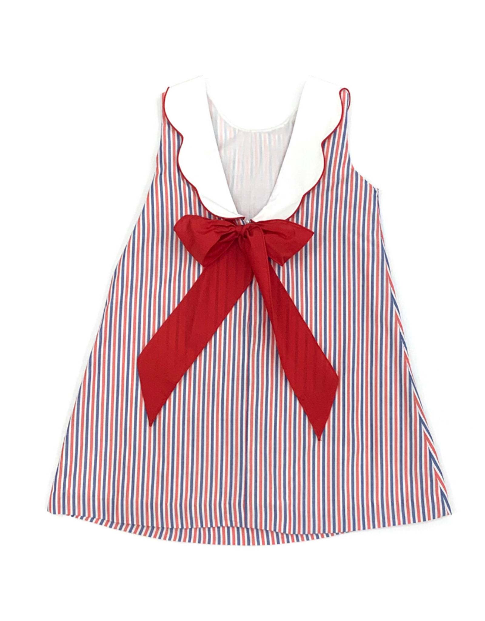 Claire and Charlie Red And Blue Striped Dress With White Scalloped Collar