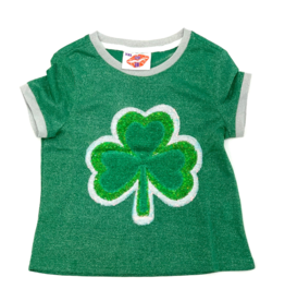 Sparkle City Mesh Green Top With Glitter Clover