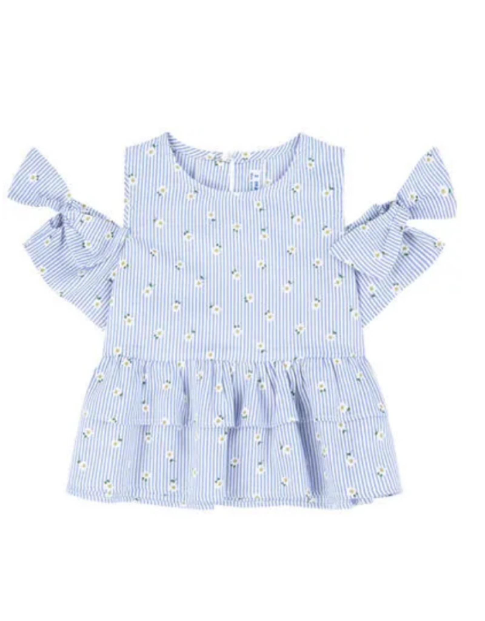 Mayoral Blue And White Striped Top With Sunflowers