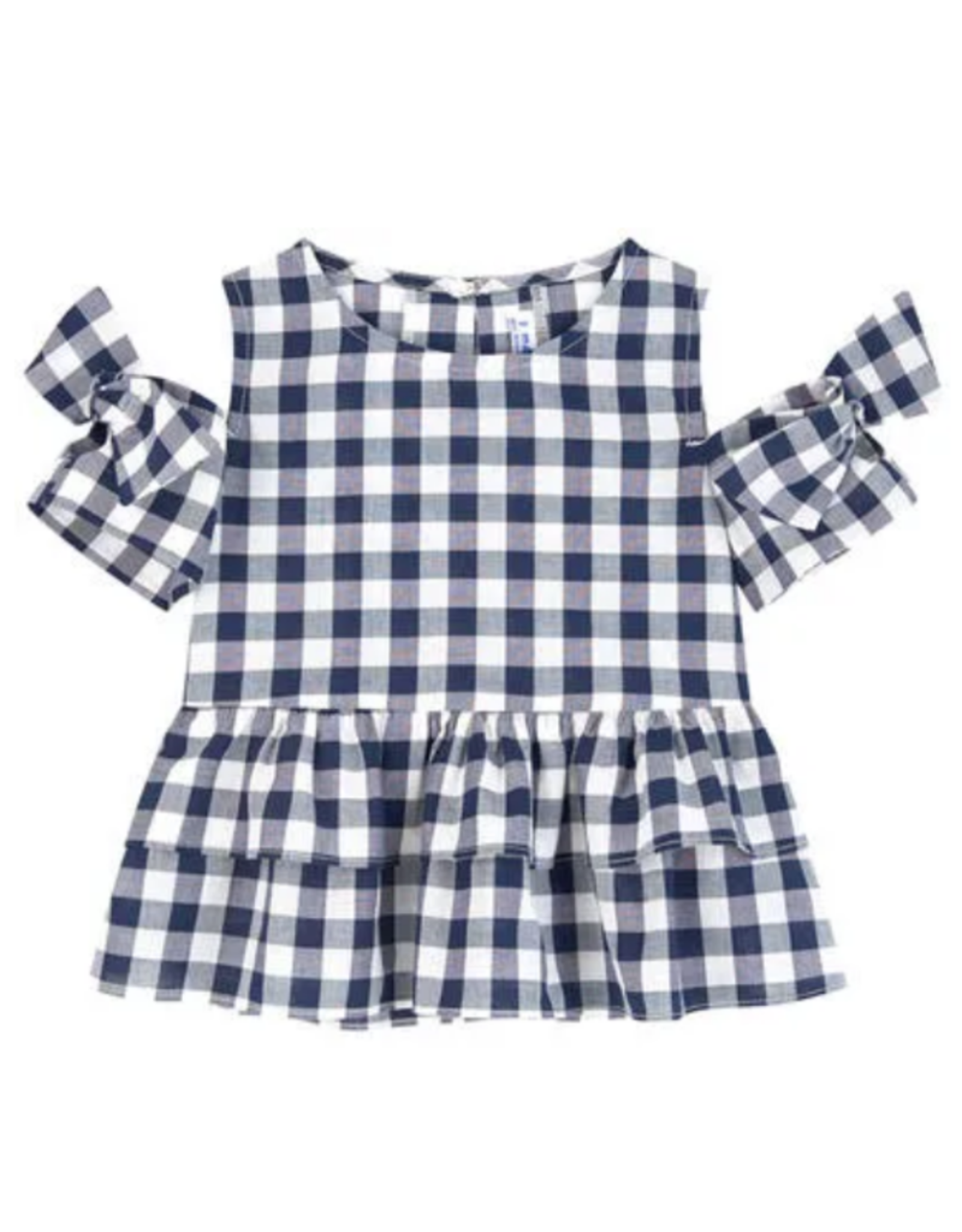 Mayoral Black and White Gingham Top
