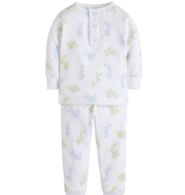 Little English Blue And Green Bunny Pajama Set