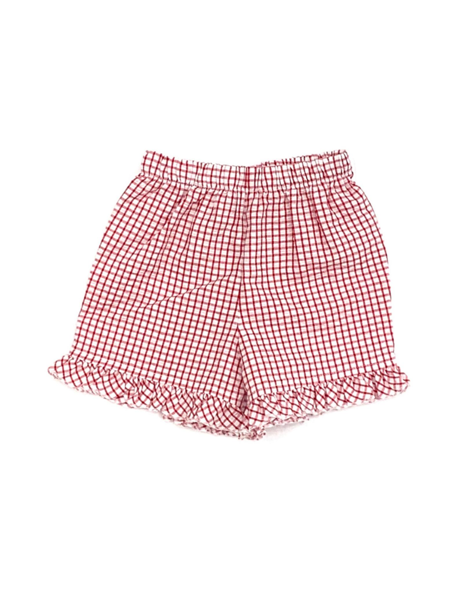 The Bailey Boys Red Windowpane Short With Ruffle