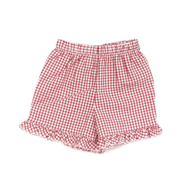 The Bailey Boys Red Windowpane Short With Ruffle