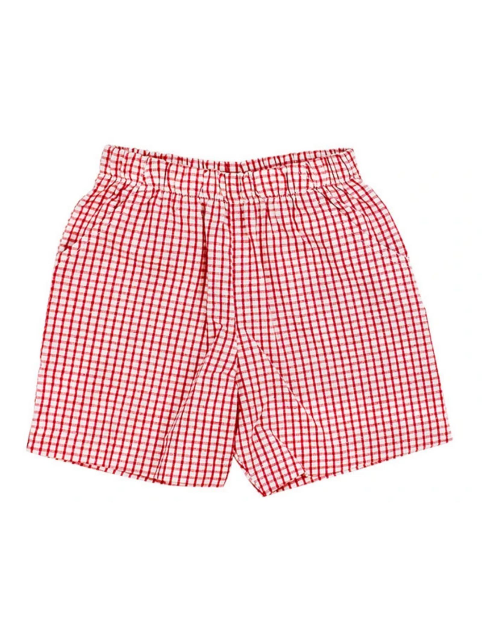 The Bailey Boys Red Windowpane Elastic Waist Short