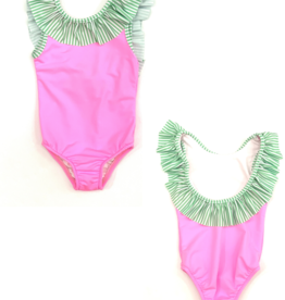 The Bailey Boys Pink And Green Striped Swimsuit