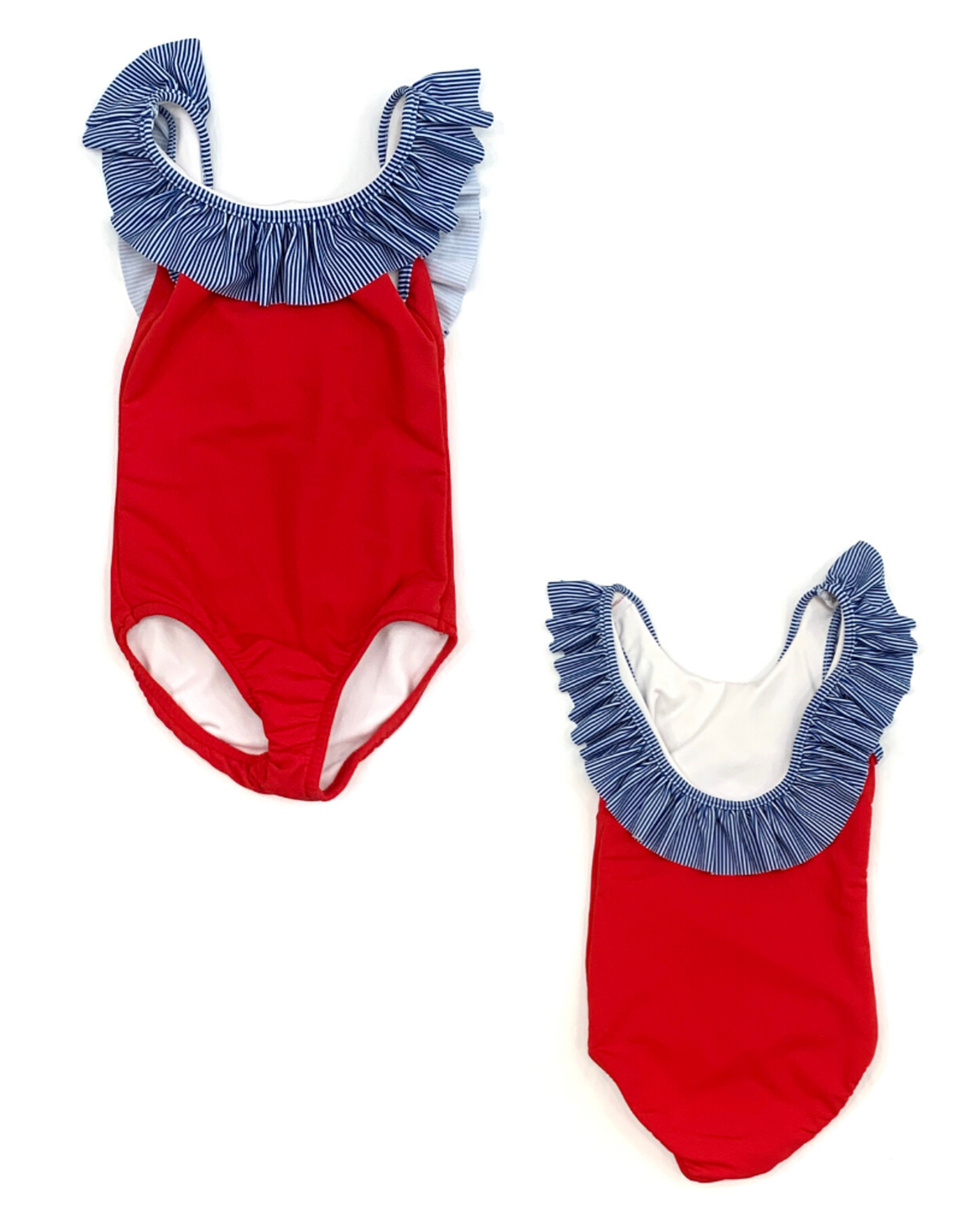 The Bailey Boys Red And Navy Striped Swimsuit