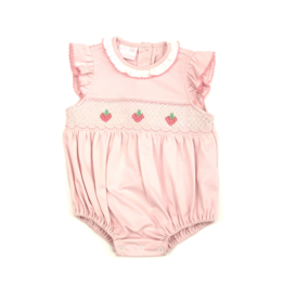 Petit Bebe Pink Strawberry Embroidered Bubble