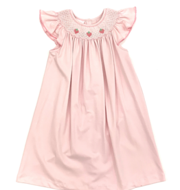 Petit Bebe Pink Strawberry Embroidered Dress