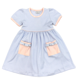 Squiggles Blue and White Stripe Dress With Coral Trim