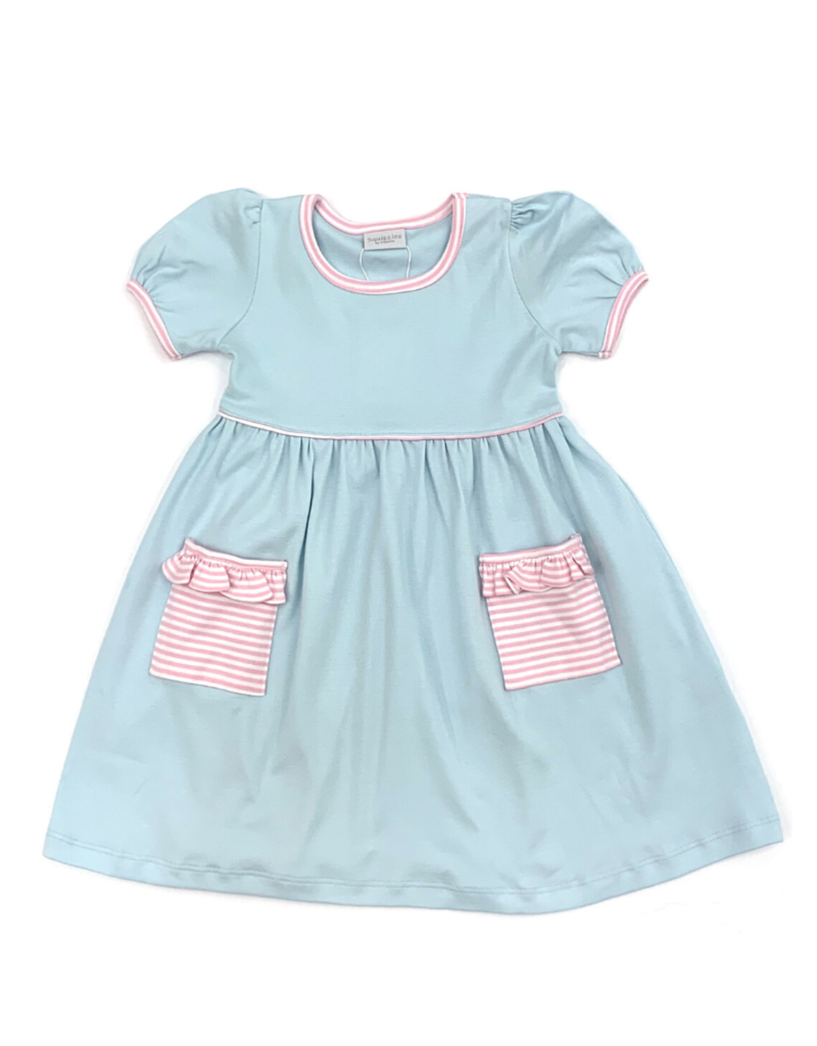 Squiggles Blue Dress With Pink Trim
