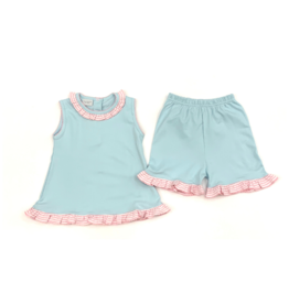 Squiggles Blue Short Set With Pink Ruffles