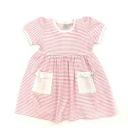 Squiggles Pink and White Striped Dress with White Trim