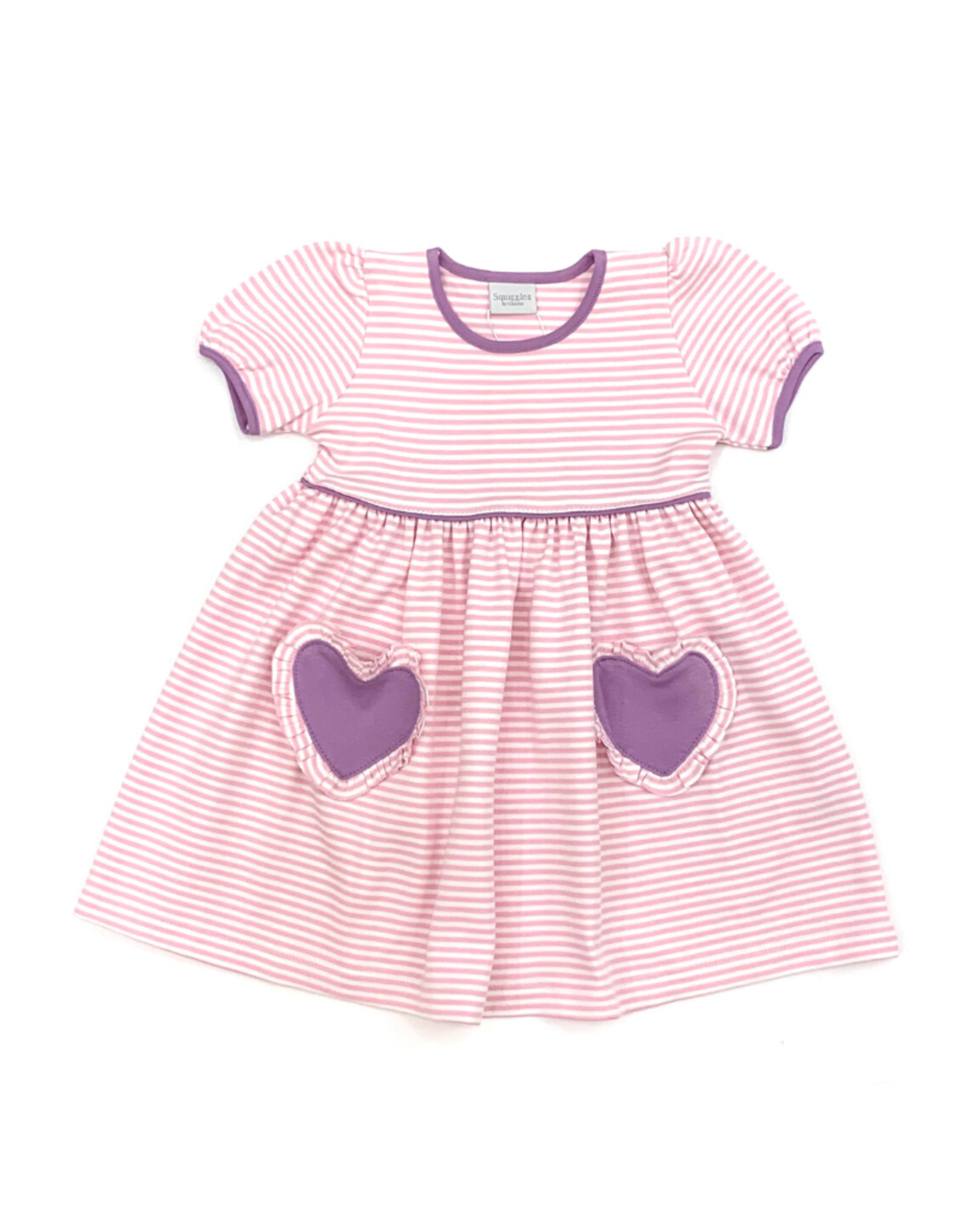 Squiggles Pink Striped Dress With Purple Heart Pockets