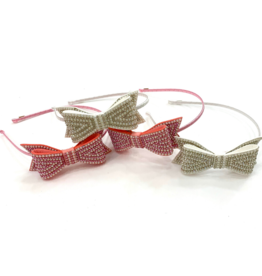 Bari Lynn Crystal Bows Headband White
