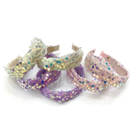 Bari Lynn Assorted Knot Headbands Purple Sequins