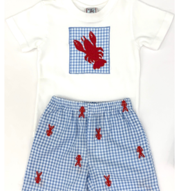 Cotton Kids Crawfish Embroidered Shorts Set